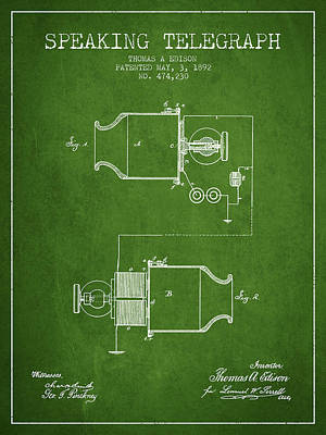 Thomas Edison Speaking Telegraph Patent From 1892 - Green Art Print by Aged Pixel