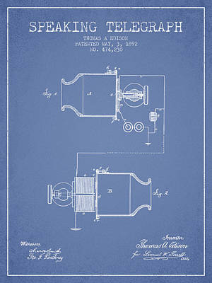 Thomas Edison Speaking Telegraph Patent From 1892 - Light Blue Art Print by Aged Pixel