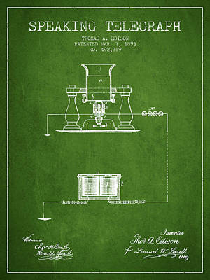 Thomas Edison Speaking Telegraph Patent From 1893 - Green Art Print by Aged Pixel