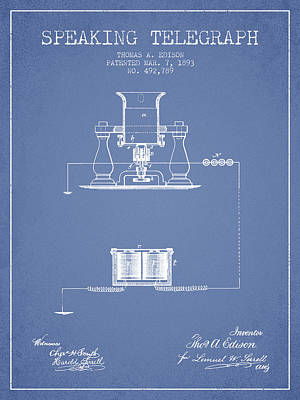 Thomas Edison Speaking Telegraph Patent From 1893 - Light Blue Art Print by Aged Pixel