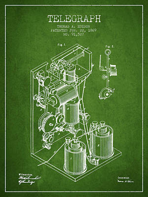 Thomas Edison Telegraph Patent From 1869 - Green Art Print by Aged Pixel