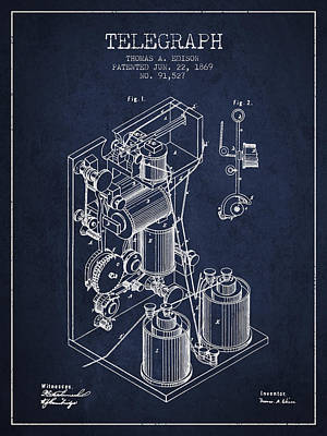 Thomas Edison Telegraph Patent From 1869 - Navy Blue Art Print by Aged Pixel