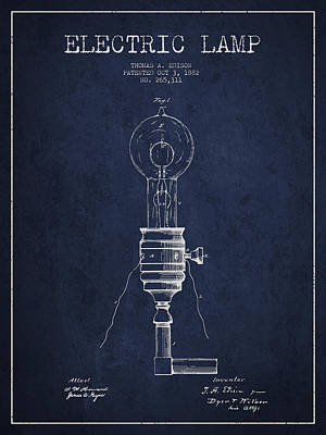 Thomas Edison Vintage Electric Lamp Patent From 1882 - Blue Art Print by Aged Pixel