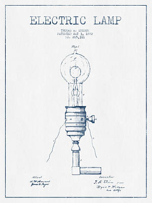 Thomas Edison Vintage Electric Lamp Patent From 1882  - Blue Ink Art Print