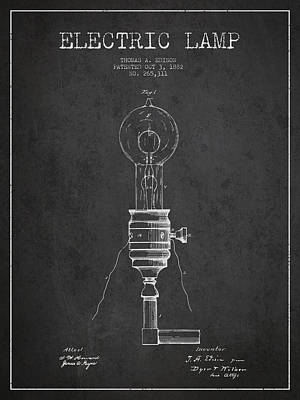 Thomas Edison Vintage Electric Lamp Patent From 1882 - Dark Art Print