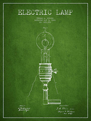 Thomas Edison Vintage Electric Lamp Patent From 1882 - Green Art Print