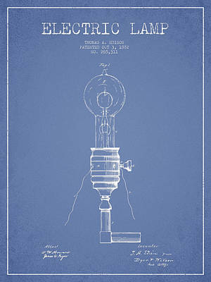 Thomas Edison Vintage Electric Lamp Patent From 1882 - Light Blu Art Print