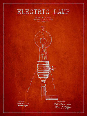 Thomas Edison Vintage Electric Lamp Patent From 1882 - Red Art Print by Aged Pixel