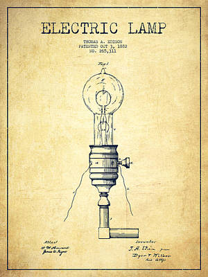 Thomas Edison Vintage Electric Lamp Patent From 1882 - Vintage Art Print