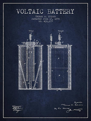 Thomas Edison Voltaic Battery Patent From 1890 - Navy Blue Art Print by Aged Pixel