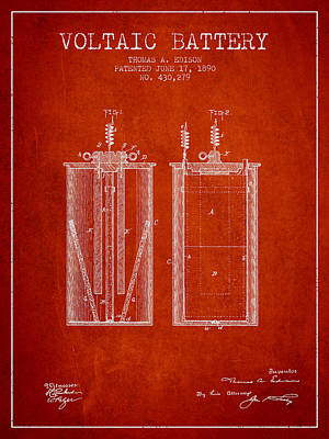 Thomas Edison Voltaic Battery Patent From 1890 - Red Art Print by Aged Pixel