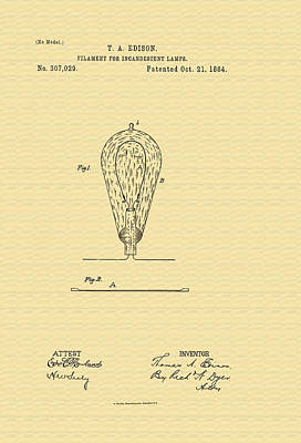 1880s Photograph - Thomas Edison's Lamp Filament Patent - 1884 by Mountain Dreams