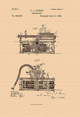 Thomas Edison's Phonograph Patent Print by Mountain Dreams
