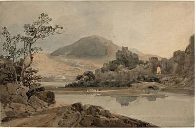 North Wales Drawing - Thomas Girtin British, 1775 - 1802, Conway Castle by Quint Lox