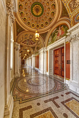 Photograph - Thomas Jefferson Building Hallway by Susan Candelario