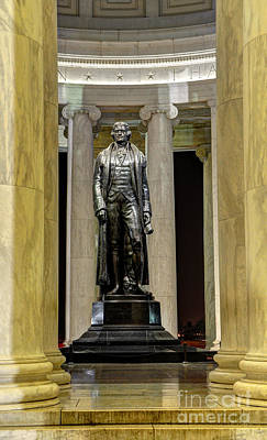 National Historic Landmark District Photograph - Thomas Jefferson Memorial Statue At Night by Gary Whitton