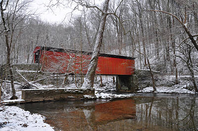 Thomas' Mill Covered Bridge In The Snow Art Print by Bill Cannon