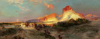 Wyoming Painting - Thomas Moran American, 1837 - 1926, Green River Cliffs by Quint Lox