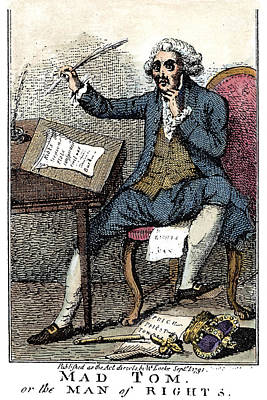 Rights Of Man Painting - Thomas Paine Cartoon, 1791 by Granger