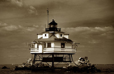 Thomas Point Shoal Lighthouse Sepia Art Print by Skip Willits