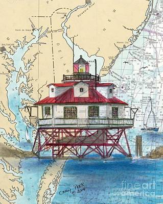 East Coast Lighthouse Painting - Thomas Pt Shoals Lighthouse Md Nautical Chart Map Art Cathy Peek by Cathy Peek