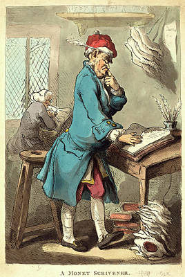 Handcolored Etching Drawing - Thomas Rowlandson, British 1756-1827, A Money Scrivener by Litz Collection