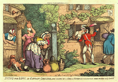Handcolored Etching Drawing - Thomas Rowlandson, British 1756-1827, Dying For Love by Litz Collection