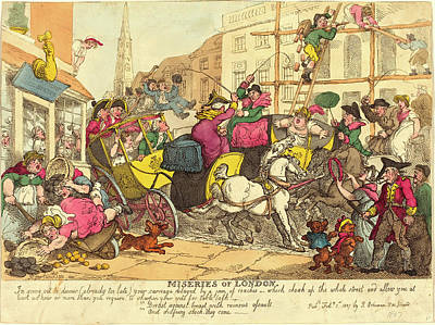 Handcolored Etching Drawing - Thomas Rowlandson, British 1756-1827, Miseries Of London by Litz Collection