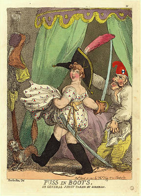 Handcolored Etching Drawing - Thomas Rowlandson, British 1756-1827, Puss In Boots by Litz Collection