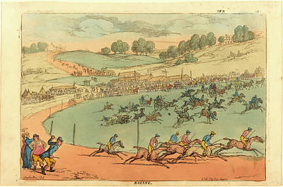 Handcolored Etching Drawing - Thomas Rowlandson, British 1756-1827, Racing by Litz Collection