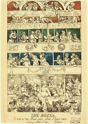 Handcolored Etching Drawing - Thomas Rowlandson, British 1756-1827, The Boxes by Litz Collection