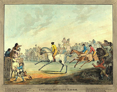 Handcolored Etching Drawing - Thomas Rowlandson, British 1756-1827, The High-mettled Racer by Litz Collection