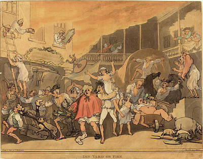 Handcolored Etching Drawing - Thomas Rowlandson, British 1756-1827, The Inn Yard On Fire by Litz Collection