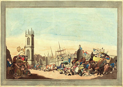 Handcolored Etching Drawing - Thomas Rowlandson, British 1756-1827, The Overdrove Ox by Litz Collection