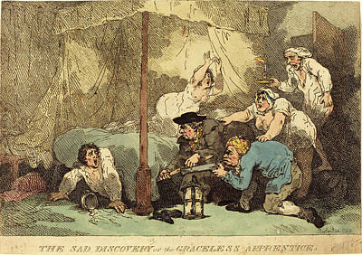 Handcolored Etching Drawing - Thomas Rowlandson, British 1756-1827, The Sad Discovery by Litz Collection