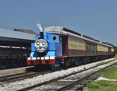 Photograph - Thomas The Tank Engine Arrives by Allen Sheffield
