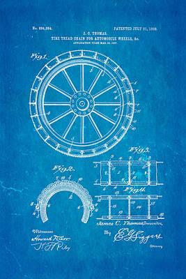 Thomas Tire Tread Chain Patent Art 1908 Blueprint Art Print by Ian Monk