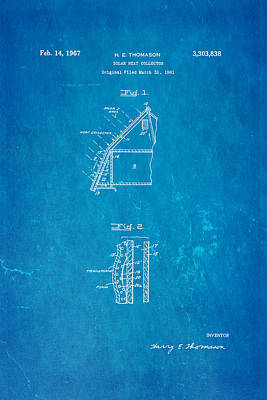 Thomason Solar Panel Patent Art 1967 Blueprint Art Print