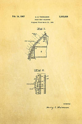 Thomason Solar Panel Patent Art 1967 Art Print