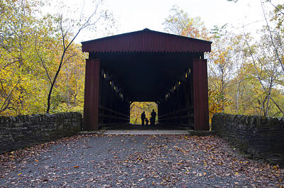 Thomas's Covered Bridge - Family Walk Art Print by Bill Cannon