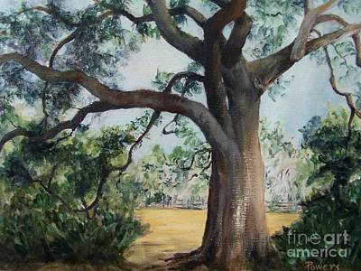 Art Print featuring the painting Thomasville Oak by Mary Lynne Powers