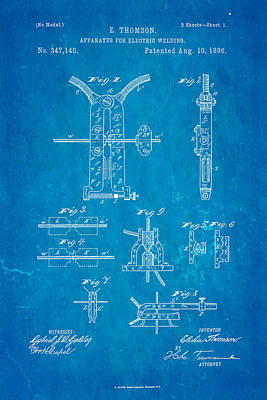 Welding Photograph - Thomson Electric Welding Patent Art 1886 Blueprint by Ian Monk