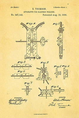 Welding Photograph - Thomson Electric Welding Patent Art 1886 by Ian Monk
