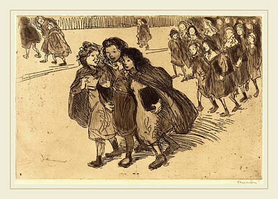 Steinlen Drawing - Théophile Alexandre Steinlen, Girls Coming From School by Litz Collection