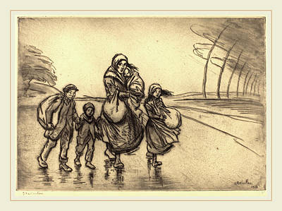 Steinlen Drawing - Théophile Alexandre Steinlen, In The Rain Mother by Litz Collection