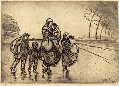 Steinlen Drawing - Théophile Alexandre Steinlen, In The Rain Mother by Quint Lox
