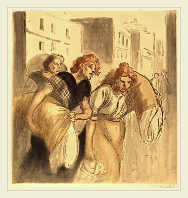 Steinlen Drawing - Théophile Alexandre Steinlen, Return From The Wash House by Litz Collection