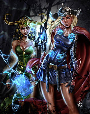 Painting - Thor And Loki by Pete Tapang
