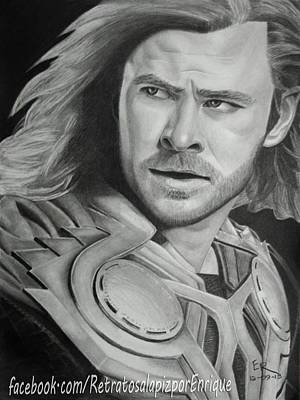 Thor Drawing Drawing - Thor Odinson - Chris Hemsworth by Enrique Garcia