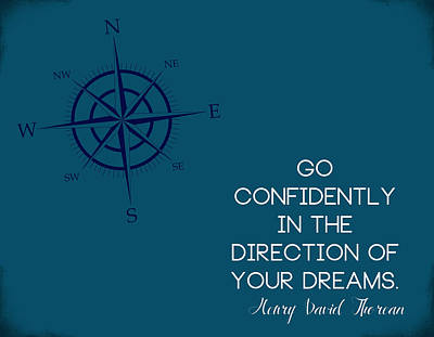 Thoreau Compass Art Print by Nancy Ingersoll